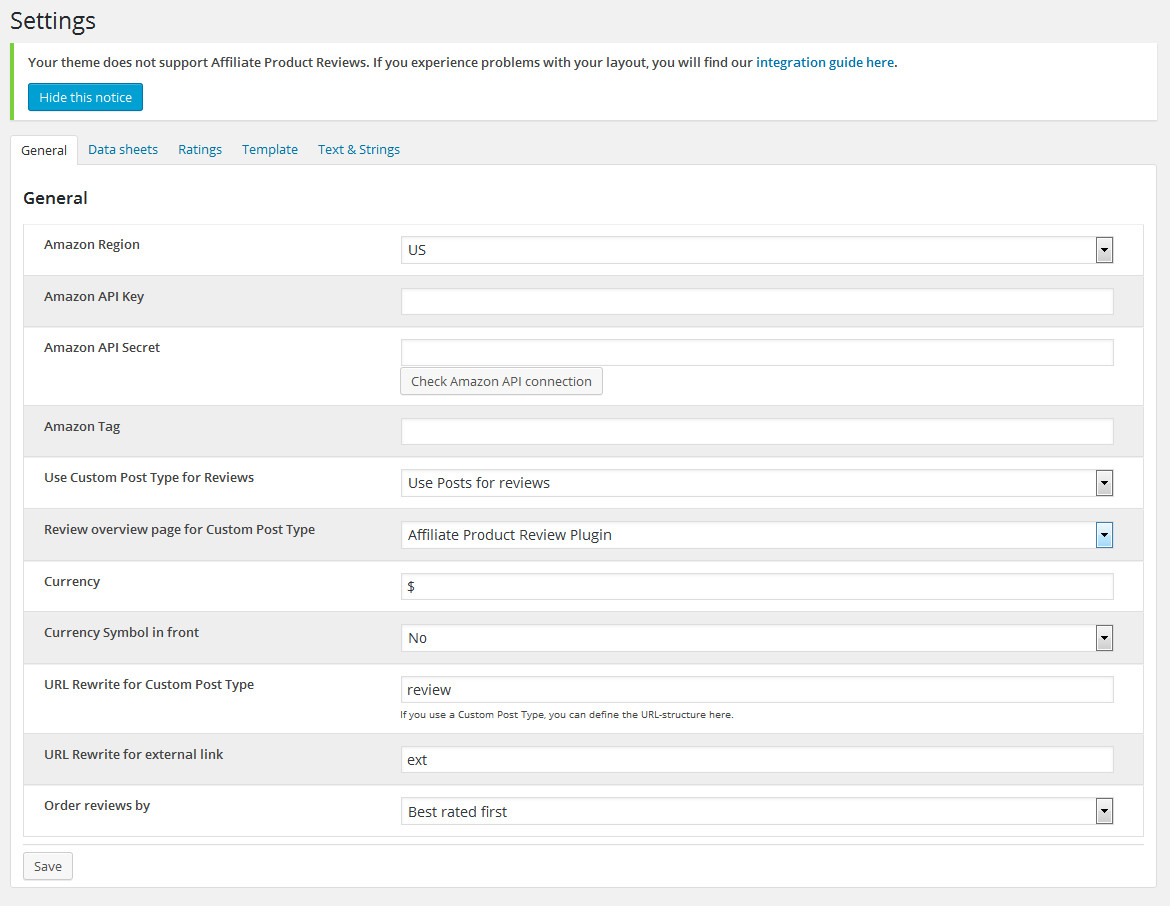 The general settings of the Affiliate Product Review Plugin for WordPress